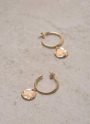 Mint Velvet Gold Drop Disc Hoop Earrings