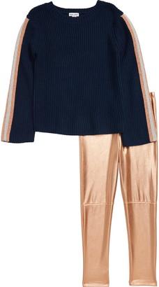 Splendid Sweater & Metallic Leggings Set