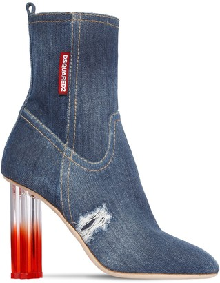 DSQUARED2 90MM DENIM ANKLE BOOTS