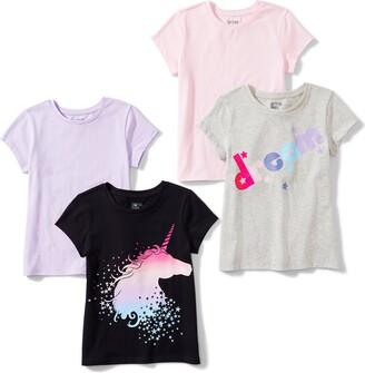 Spotted Zebra Little Girls' 4-Pack Short-Sleeve T-Shirts