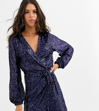 Club L London Tall sequin wrap front mini skater dress in navy