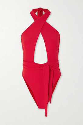 Mara Hoffman Roni Tie-front Cutout Halterneck Swimsuit - Red