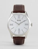 HUGO BOSS BOSS By 1513021 Ambassador Leather Watch In Brown