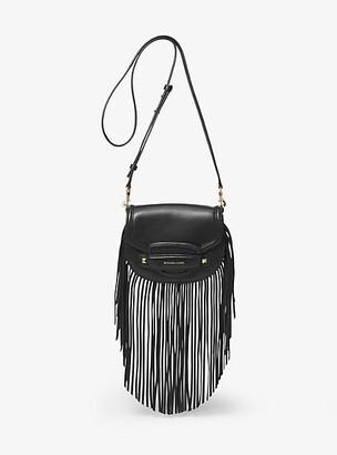 MICHAEL Michael Kors Cary Small Fringed Leather Saddle Bag