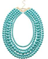 Jane Stone Fashion Turquoise Collar Necklace Multi-layered Chunky Long Beads Beaded Jewelry for Women