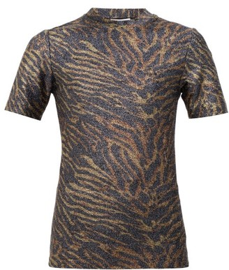 Ganni Zebra-print Lurex T-shirt - Animal