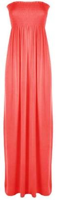 Fashion Review [Red UK - 20-22] NEW WOMENS LADIES PLUS BIG SIZE SHEERING BOOBTUBE MAXI SUMMER BANDEAU LONG DRESS