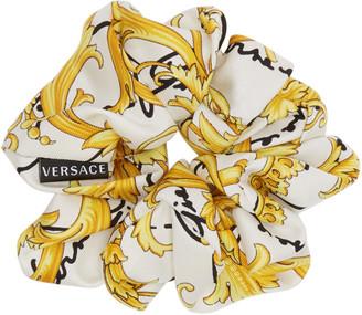 Versace White Barocco Signature Scrunchie