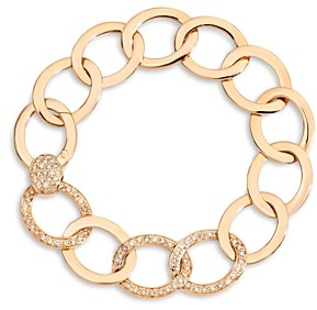 Pomellato 18K Rose Gold Brera Brown Diamond Chain Link Bracelet