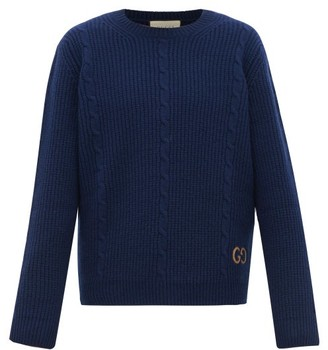 Gucci Logo-embroidered Cabled-wool Sweater - Blue