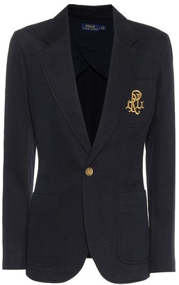 Polo Ralph Lauren Embroidered cotton-blend knit blazer
