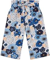 Chloé Floral Flared Trousers, Blue, 5 Years