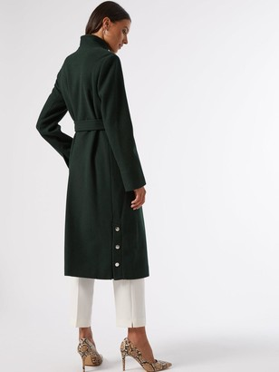 Dorothy Perkins Glossy Funnel Collar Belted Coat -Green