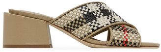 Burberry Beige Check Latticed Heeled Sandals