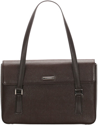 Burberry Brown/Black Leather Tote Bag