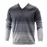 Calvin Klein Men's Merino Acrylic Simple Ombre Striped V-Neck Sweater