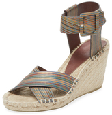 Vince Stefania Striped Leather Espadrille Wedge