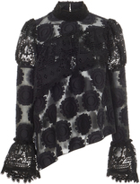 Anna Sui Clipped Floral Jacquard Blouse