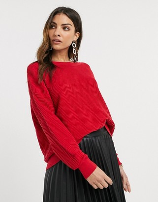 French Connection slash neck cropped jumper-Red