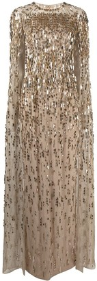 Jenny Packham Mercedes sequined cape dress