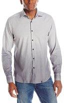 Stone Rose Men's Dip-Dyed Herringbone Long-Sleeve Shirt