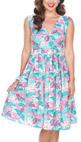 Bettie Page Pink & White Flamingo Sleeveless Fit & Flare Dress