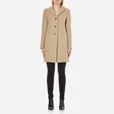 Love Moschino Women's Silver Heart Button Coat Beige
