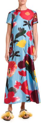 Marni Double J Floral Print Silk Swing Dress