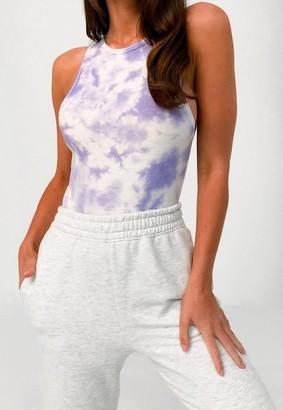 Missguided Lilac Tie Dye Racer Back Bodysuit