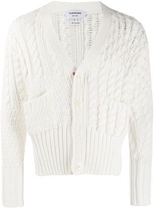 Thom Browne White Fun-Mix Intarsia V-Neck Cardigan