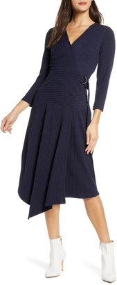Sam Edelman V-Neck Long Sleeve Asymmetrical Faux Wrap Dress