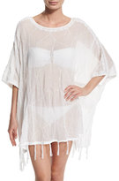 Letarte Embroidered Fringe-Trim Poncho Coverup