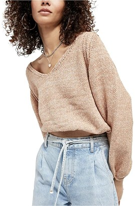 Free People Riptide V-Neck Sweater (Neutral) Women's Clothing