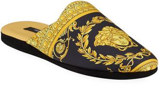 Versace Men's Barocco Silk Robe Slippers