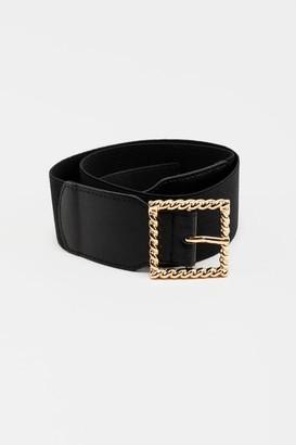 francesca's Freddie Twisted Buckle Belt - Black