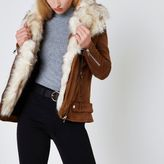 River Island Womens Tan faux fur trim aviator jacket