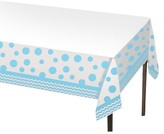 Pastel Blue Dots and Stripes Disposable Tablecloth