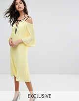 Warehouse Cold Shoulder V Neck Dress