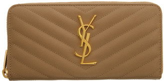 Saint Laurent Beige Monogramme Zip Around Wallet