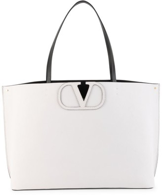 Valentino Large VLogo Leather Tote