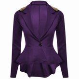 Forever Womens Long Sleeves Plain Spikes Shoulder Peplum Button Blazer