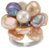 Honora Cultured Pearl 9.0mm Petal Keshi Flower Sterling Ring