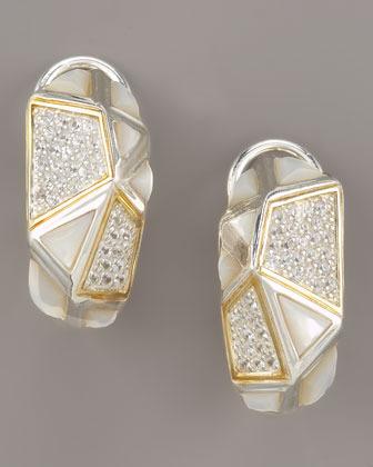 Kara Ross Mother-of-Pearl Omega Huggie Earrings