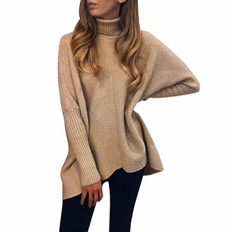 Petalum Women Casual Turtleneck Pullover Sweater Batwing Sleeve Slouchy Oversized Knit Tunic Dress Black