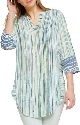 Nic+Zoe Awakening Striped V-Neck 3/4-Sleeve Tunic Top