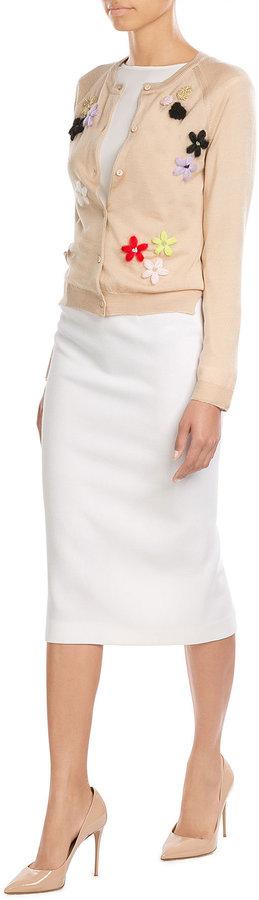Simone Rocha Merino Wool-Silk-Cashmere Cardigan with Floral Appliqué