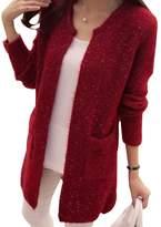 OCHENTA Women's Loose Pocket O-neck Sweater Cardigan Knit Top Gery