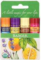 Badger Classic Lip Balm Sticks Tangerine, Lavender Orange, Vanilla, Grapefruit