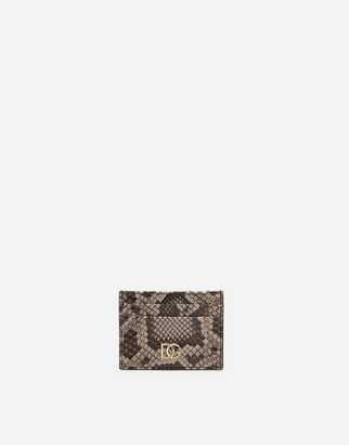 Dolce & Gabbana Python Leather Card Holder With Crossover Logo