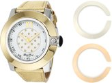 Glam Rock Women's GR32002 SoBe Diamond Accented Enamel Dial Gold Leather Watch